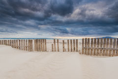 Sky before storm at beach by ocean in Spain. Sky before storm at beach by ocean in Tarifa, Spain Royalty Free Stock Image