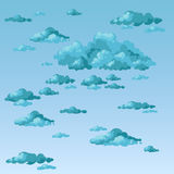 The sky and storm clouds. Fluffy clouds on an overcast day. Vector Royalty Free Stock Photo