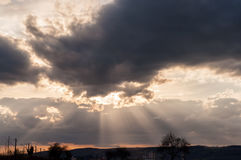 The  sky after storm at sunset Royalty Free Stock Photo