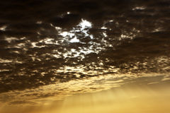 Sky after stormy day. And sun coming over the clouds Stock Photo