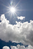 Sky and  sun. Sun rays out in a  sunny day in mountain aera Stock Photo