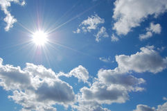 Sky and sun. Bright sun on a background sky stock photo