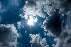 Sky with sun burst ray with cloudy Royalty Free Stock Photography