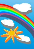 Sky sun and clouds. Sun clouds and rainbow illustration in extruded Style royalty free illustration