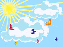 Sky with sun, clouds and butterflies Royalty Free Stock Image