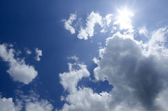 Sky and sun. Sky with clouds and sun in the top right corner Royalty Free Stock Image