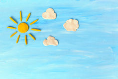 Sky and the sun. Made from plasticine Stock Images