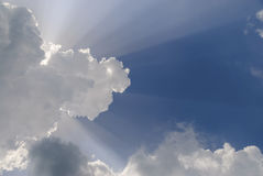 Sky with the sun`s rays. Stock Image