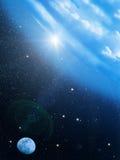 Sky  sun  stars  moon. An abstract background Stock Photography