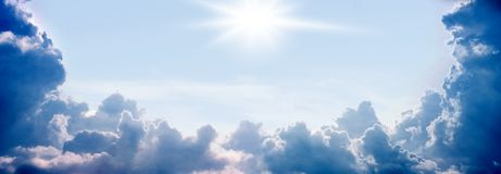 Sky, sun, summer day. Wide background - summer day, sun, sky, clouds Royalty Free Stock Images