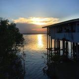 Sunset at seashore royalty free stock photos