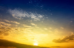 Sky. Sun up in morning time,blue sky and yellow sky from sun light in a new day Royalty Free Stock Photos