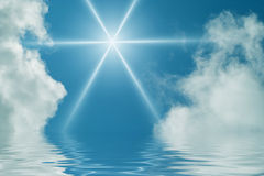 Sky, sun and water. Beautiful sky reflected in water Royalty Free Stock Photos
