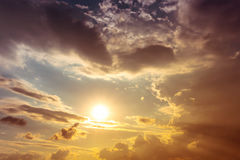 Sky. Before sundown time,orange sun light and overcast sky Stock Photography