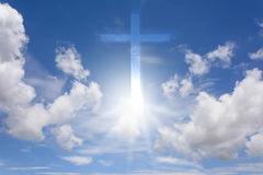 Sky and Sunlight with cross. Blue sky. Gradient Sky. Sky with clouds. Sky and sunrise. Sky and Sunlight with cross Royalty Free Stock Photo
