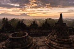Sky sunrise over Borobudur stupa Royalty Free Stock Images