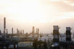 Petrochemical plant. Sky sunrise with in petrochemical plant view, landscape of oil refinery industry Stock Photo