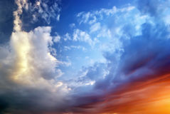 Sky on sunset. Colorful clouds. Nature composition Royalty Free Stock Photos