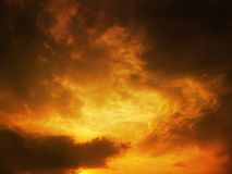 Sky at sunset. Dramatic red cloudy sky at sunset Stock Image