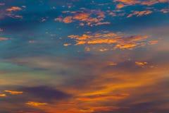 Sky sunset background blazing landscape and orange background. Stock Photo