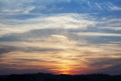 Sky at sunset with beautiful orange lights. Landscape view royalty free stock photography
