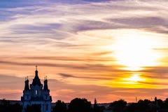 Sky sunset church Stock Photos