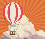 Sky sunset clouds airballoon travel retro background Stock Photography