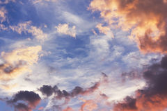 Sky at sunset with clouds Royalty Free Stock Photography