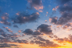 Sky. Sunset light and over cast sky Royalty Free Stock Image