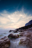 Sky after sunset over the rocky cape Ayia Royalty Free Stock Images