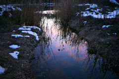 The sky at sunset reflected in a small river stock photos