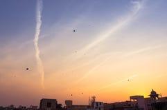 Sky at sunset showing kites flying on Uttaryan Royalty Free Stock Image