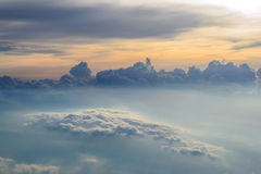 Sky and Sunset View above the Clouds from airplane Royalty Free Stock Image