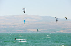 Sky-surfing on lake Kinneret Royalty Free Stock Photography