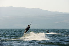 Sky-surfing on lake Kinneret Stock Image