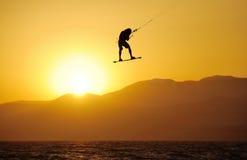Sky-surfing on lake Kinneret Royalty Free Stock Image
