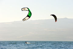 Sky-surfing on lake Kinneret Royalty Free Stock Images