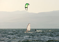 Sky-surfing and surfing on lake Kinneret Stock Photos