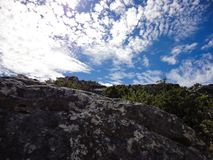 The sky from Table Mountain, South Africa stock photos