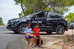 Sky Team Car And Fans La Vuelta España Stock Image