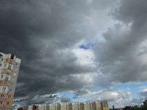 The sky in a thunderstorm. Clouds, thunder, Minsk, before the rain Royalty Free Stock Photos