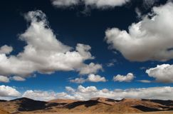 Sky of Tibet. Landscape with clouds and blue sky Royalty Free Stock Photo