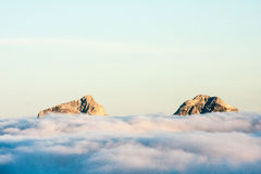 In the sky. The tops of Julian Alps Royalty Free Stock Photo