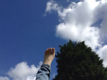 Sky. Touch light freedom feet Royalty Free Stock Photos