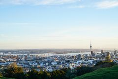Sky Tower and Auckland Harbour Bridge landmarks on city skyline Stock Images