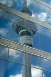 Sky tower reflection royalty free stock images