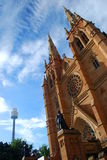 Sky Tower and St. James church. Sydney. New South Wales, Australia Royalty Free Stock Images