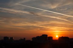 Sky and the trace of the aircraft. Over Moscow city stock images