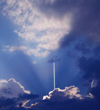 Sky trail plane Royalty Free Stock Images
