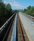 Sky Train. This picture was taken during sky train driving at Vancouver area royalty free stock photos